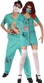 Couples Zombie Surgeon Fancy Dress Costume