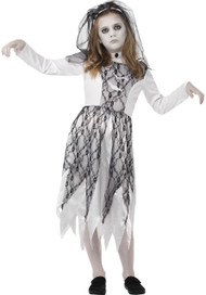 Girls Ghostly Bride Fancy Dress Costume