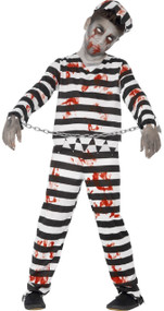 Boys Zombie Convict Fancy Dress Costume