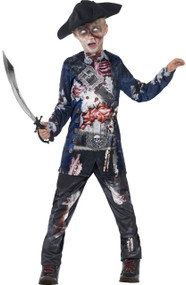 Boys Deluxe Jolly Rotten Zombie Pirate Fancy Dress Costume