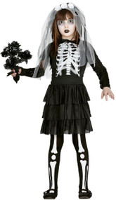 Girls Skeleton Bride Fancy Dress Costume
