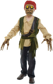 Boys Light Up Zombie Pirate Fancy Dress Costume