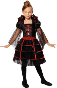 Girls Queen Vampire Bat Fancy Dress Costume