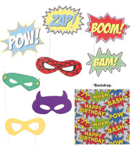 9Pc Super Hero Party Photo Booth Background & Props