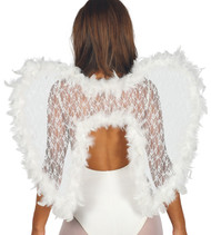 Ladies Lace & Feather Luxury White Fancy Dress Wings