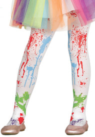 Girls Paint Splatter Fancy Dress Tights