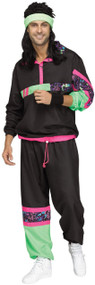 Mens 1980s Black Shell Suit Fancy Dress Costume
