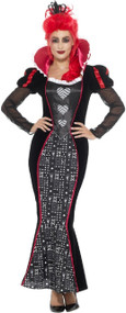 Ladies Red Queen Vampire Fancy Dress Costume