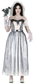 Ladies Longer Length Ghost Bride Fancy Dress Costume
