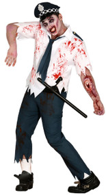 Mens Dead Zombie Policeman Fancy Dress Costume