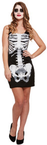 Ladies Mini Skeleton Fancy Dress Costume