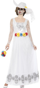 Ladies Day Of The Dead Skeleton Bride Fancy Dress Costume