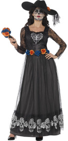 Ladies Day Of The Dead Skeleton Dark Bride Fancy Dress Costume