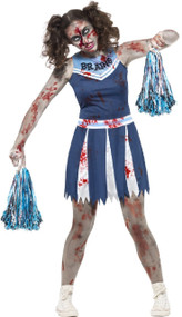 Teen Girls Zombie Blue Cheerleader Fancy Dress Costume