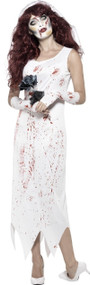 Ladies Bloody Zombie Bride Fancy Dress Costume