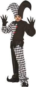 Boys Harlequin Jester Fancy Dress Costume