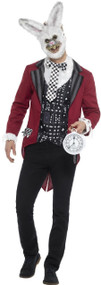 Mens Twisted White Rabbit Fancy Dress Costume