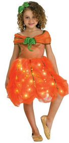 Girls Light Up Pumpkin Fancy Dress Costume