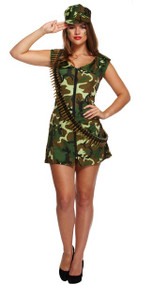 Ladies Army Girl Fancy Dress Costume