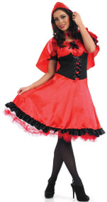 Ladies Longer Length Red Riding Hood Fancy Dress Costume