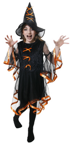 Girls Black/Orange Witch Fancy Dress Costume