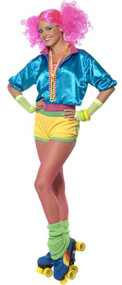 Ladies 1980s Roller Girl Fancy Dress Costume