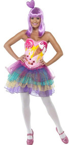 Ladies Candy Queen Fancy Dress Costume