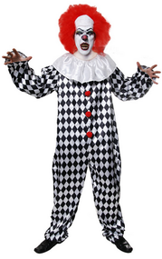 Mens Crazy Clown Fancy Dress Costume