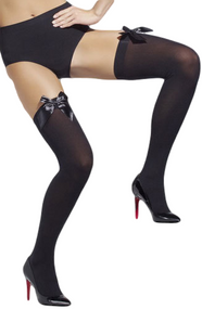 Ladies Black Bow Top Stockings