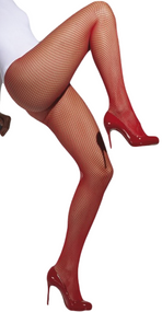 Ladies Red Fishnet Tights