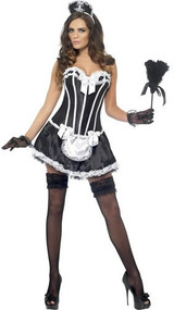 Ladies French Maid Corset Fancy Dress Costume