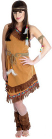 Ladies Indian Squaw Fancy Dress Costume