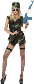 Ladies Army Comabt Girl Fancy Dress Costume