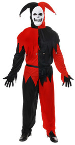 Mens Evil Jester Fancy Dress Costume