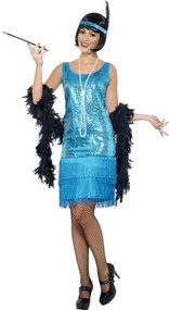 Ladies Blue Flapper Fancy Dress Costume