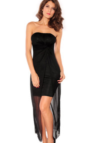 Ladies Black Strapless Drape Back Dress