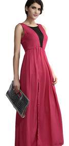 Ladies Backless Pink Maxi Dress