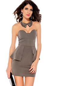 Ladies Grey Peplum Dress