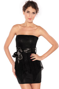 Ladies Black Strapless Lace Overlay Mini Dress