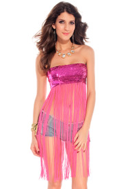 Ladies Pink Sequinned Fringed Top