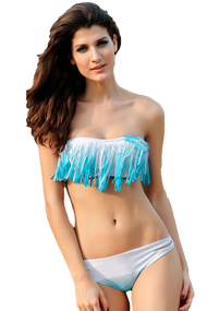 Ladies Blue/White Tassel Bandeau Bikini Set