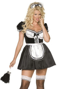 Ladies Plus Size French Maid Fancy Dress Costume