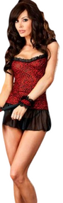 Ladies Black/Red Animal Print Cami Set