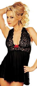 Ladies Black Lace Crinkle Babydoll Set
