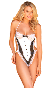 Ladies French Maid Teddy Lingerie Set
