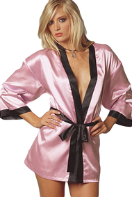 Ladies Pink/Black Satin Dressing Gown