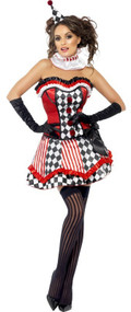 Ladies Red Vintage Clown Fancy Dress Costume