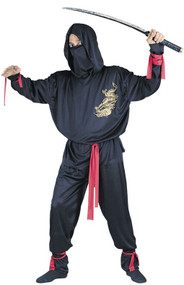 Mens Black Ninja Fancy Dress Costume