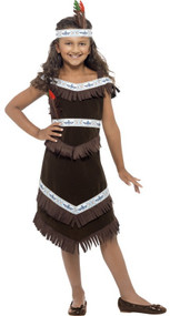 Girls Indian Squaw Fancy Dress Costume