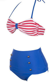 Ladies Blue White High Waisted Bikini